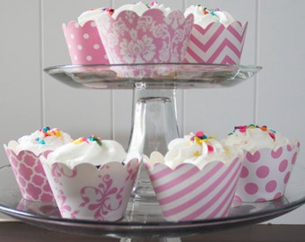 24 Light Pink Cupcake Wrappers - PICK YOUR PATTERN - Pink Cupcake Wrappers - Great for Birthday Parties, Baby Showers & Wedding Receptions