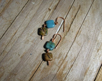 Dangle earrings Squares boho earrings gemstone
