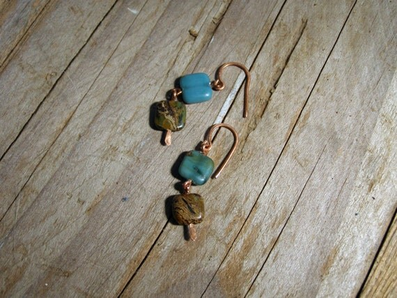 Dangle earrings Squares boho earrings gemstone