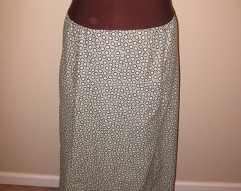 Blue Polka Dot Maxi skirt with Fold Over Waistband