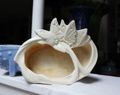 McCoy Pottery Butterfly Divided Planter White 1940 VINTAGE by Plantdreaming