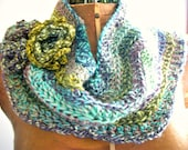 Crochet Cowl, Watercolor Waves/ Flowers, Women/Teens by AngelAndFairyDesigns on Etsy.com