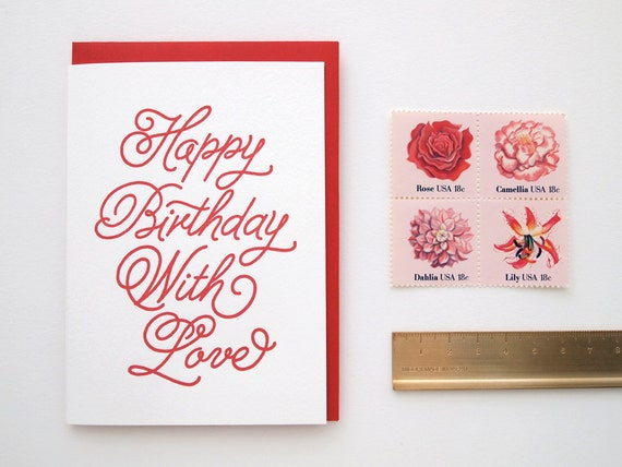Happy Birthday With Love Letterpress Card