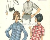 Vintage 1960s Button Front Blouse Pattern Yoke Back Box Pleat Long or Short Sleeves 1964 McCalls 7425 Bust 34