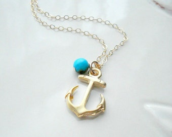 Anchor Necklace With Turquoise In Gold Or Silver, Wedding Necklace, Nautical, Gift For Her Under 25, Love