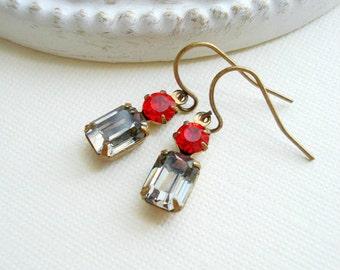 Black Diamond Earrings Siam Red Jewels Earrings Drop Vintage Earrings Costume Jewelry Dangle Earrings Victorian Earrings Small OOAK Earrings