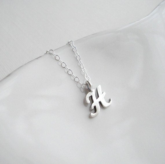 Silver Initial Necklace Personalize Necklace Silver Custom Pendant, Personalized Necklace, All Sterling Silver, Minimalist, Simple, Delicate