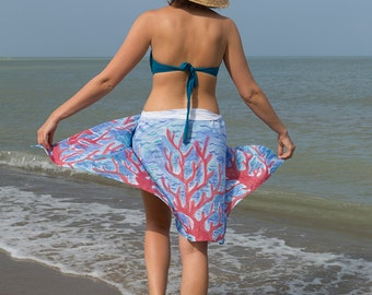 Elegant  Hand Painted Silk  Cotton Beach Pareo Sarong  with Coral Reef Red Blue White Beach Fashion Summer Vacations