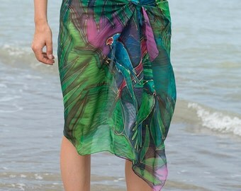 Elegant Hand Painted Silk Chiffon Scarf Pareo Wrap Beach Sarong Top Hawaii Palm Parrot Green Blue Purple Pink