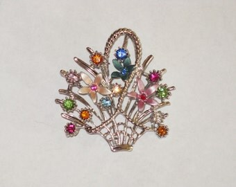 Vintage Rhinestone Flower Basket Brooch Pin (B-3-2)
