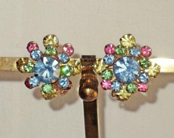 Vintage Pastel Rhinestone Clip Earrings (E-2-3)