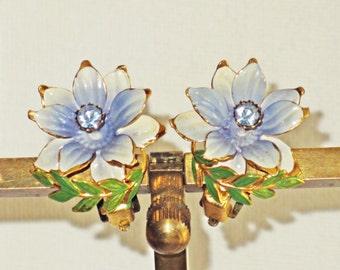 Austria Blue Enameled Floral Earrings (E-2-3)