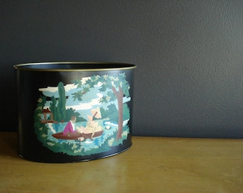 Classy Trashy - Vintage Mini Paint By Number Wastepaper Basket - Small PBN Trash Can - Painted Trashcan
