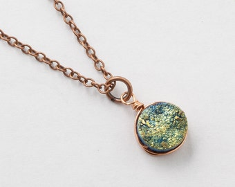 Druzy Necklace Green Titanium Druzy Quartz Gemstone copper rose gold pendant necklace wire wrapped jewelry Gift  by Steampunk Nation