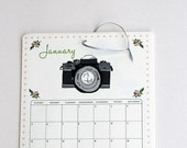 "2014 Wall Calendar - large wall calendar 2014 Mix II, in green, pink, peach, pink, gray, black, and brown, 8.5x11"" - OliveandRuby"