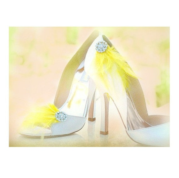 Shoe Clips Yellow Feather. Silver Rhinestone Crystal. Bride Bridal Bridesmaid Couture. More Ivory White Mint Teal Purple Navy Blue Statement