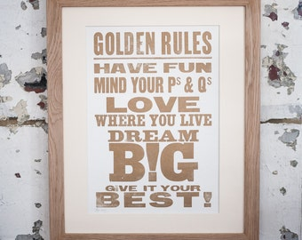 Golden Rules Letterpress Print Inspirational quote