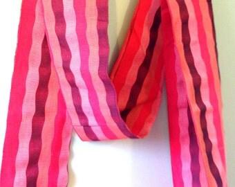SALE 1980s Striped Earth Tones COTTON OBI Japanese Kimono Sash