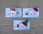 CHRISTMAS HELLO KITTY Hair Clips,  Christmas Clip, Holiday Hair Clip, Hello Kitty