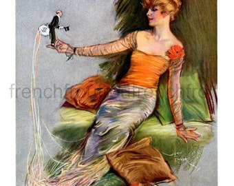 antique art deco illustration the silk worm flapper pinup digital download