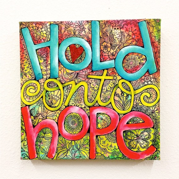 Glittered HOLD ONTO HOPE Giclee Wrapped Canvas Art Print Wall Decor- 10x10 - Christian Art