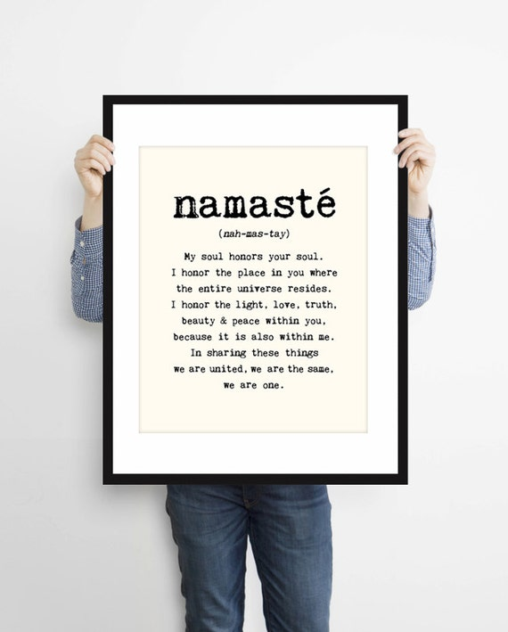 large namaste poster 16x20 inches on a2 inspiring quote