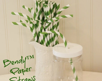 Paper Straws, MADE In USA, 20 Green Striped BENDY Paper Straws, Green Paper Straws, Striped Straws, Baby Shower, Flex Straws, Kids Straws