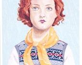 Fine art print -- Girl Wearing Fair Isle Vest