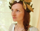 Bridal flower crown, white rose head wreath, boho tiara, floral crown