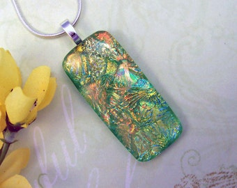 Peach and Spring Green Dichroic Fused Glass Pendant - Dichroic Necklace - Fused Dichroic Jewelry - 120-14