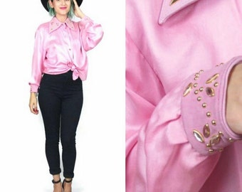 80s Pink silk Blouse Leather Collar Studded Shirt Gold Bedazzled Gems Button Down Shirt Rocker Hip Hop NWT Deadstock Vintage (M/L)