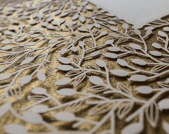Ketubah Papercut by Jennifer Raichman - Lace Leaves - Metallic Gold