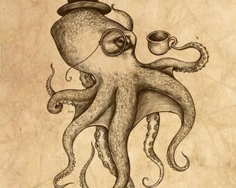 Genteel Octopus Distressed - 8 x 10 giclee print by Z Akhmetova