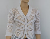 Ready to Ship / Summer White Crochet Cotton Jacket- Cardigan / 3/4 sleeve / Size M - L