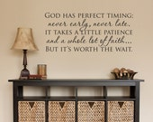 Christian Wall Decal - God has perfect timing Phrase Decal - Quote Wall Sticker - Medium