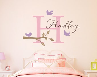 Initial & Name Decal with Birds and Branch - Bird Wall Decal - Personalized Girls Name Decal - Large