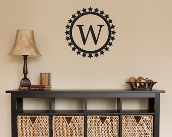 Personalized Initial Star Circle Wall Decal - Initial Decal Circle - Medium