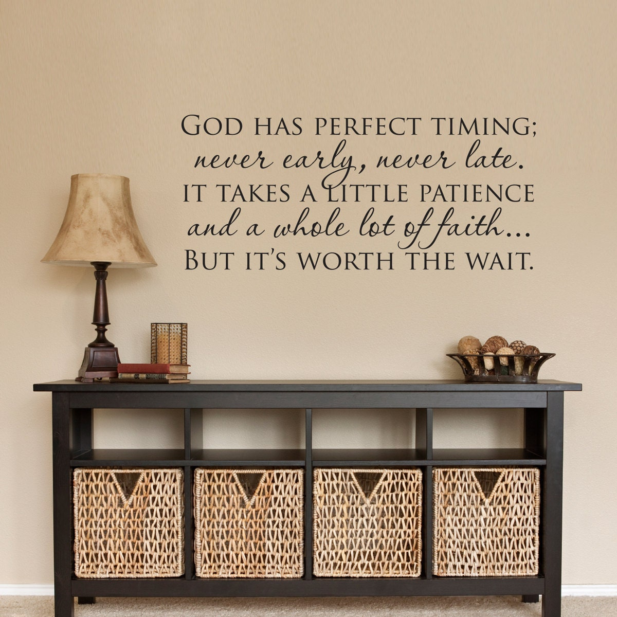 Christian wall decal god has perfect timing decal zoom amipublicfo Images