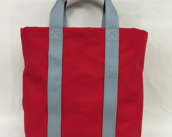 Red Canvas Tote Bag, small canvas tote, colored tote bag, small tote, vegan canvas tote, fashion tote, red/gray tote, cotton tote bag, tote