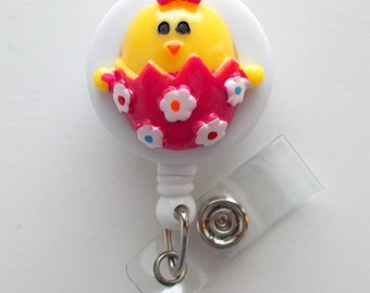 Easter Egg Chick - Retractable ID Badge Reel - Name Badge Holder - Pediatric Badge Reel - Nurse Badge Holder - Nursing Badge Clip