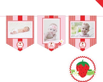 INSTANT DOWNLOAD Strawberry Party - DIY printable photo banner kit