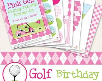 Pink Golf birthday party printables collection - 35 pages of designs for your party decor