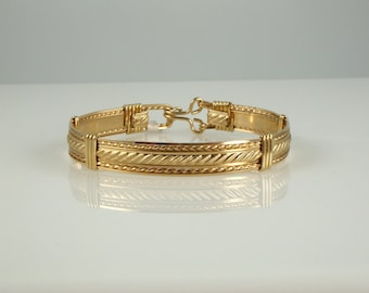 WSB-1091 14k Gold Filled Handmade Wire Wrapped Bangle Bracelet