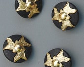 Star Trek, Klingon, Flash Gordon Buttons - FIVE Buttons -  Shiny Gold & Matte Black - Triple Swirl Pattern  - Costumes - Sewing