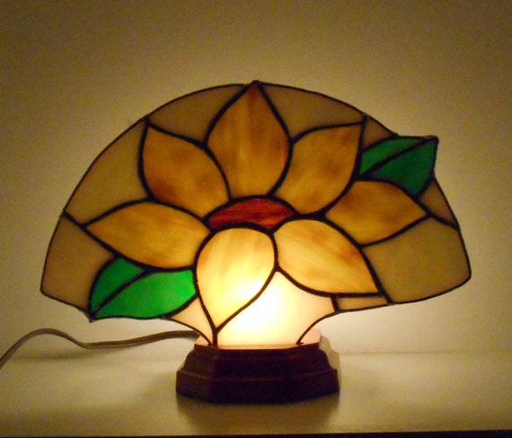 Sunflower Stained Glass Lamp Stained Glass Fan Lamp Table