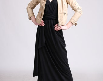 Sleeveless Maxi Wrap Dress - Black