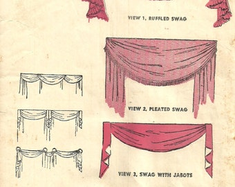 Swag valance pattern etsy for 1940s window treatments