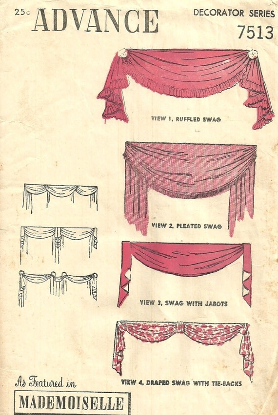 Advance 7513 vintage 1940s sewing pattern curtains drapes for 1940s window treatments