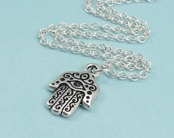 Hamsa Necklace, Silver Hamsa Charm on a Silver Cable Chain