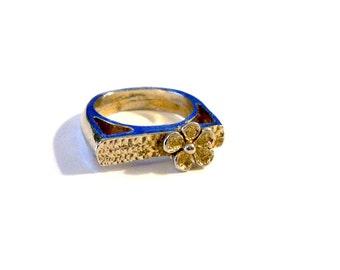 Vintage Cast Metal Ring, Flower Motif, Statement Ring, Size 8 Ring, Plus Size Ring, Gold Tone, VisionsOfOlde
